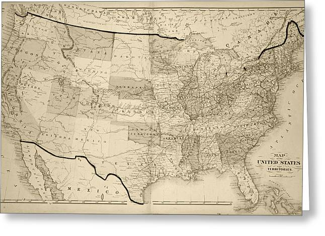 1876 Map Of The United States Sepia Greeting Card by Toby McGuire