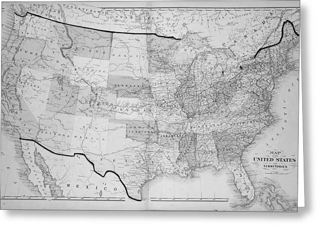 1876 Map Of The United States Greeting Card by Toby McGuire