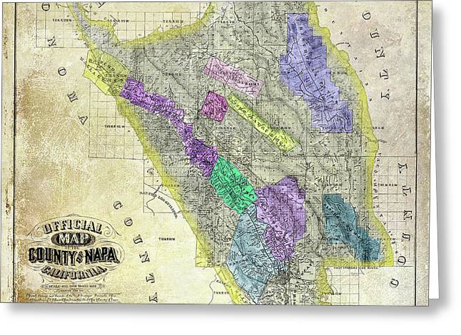 1876 Napa Valley Map Greeting Card by Jon Neidert