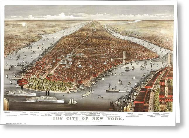 1876 New York City Map Greeting Card by Dan Sproul
