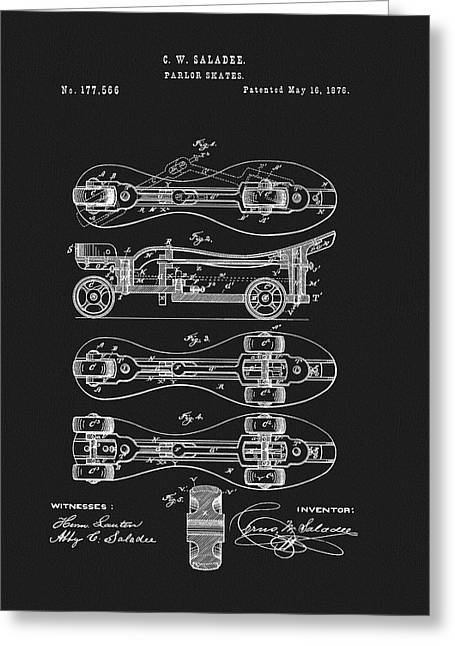 1876 Roller Skates Patent Greeting Card by Dan Sproul