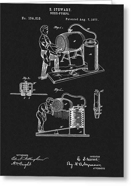 1877 Beer Pump Patent Greeting Card