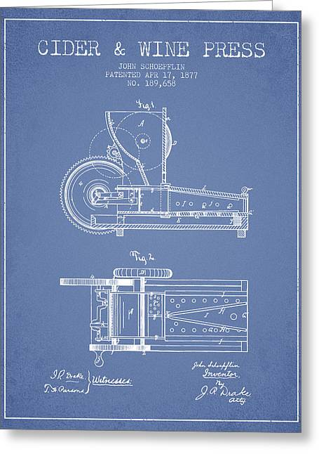 1877 Cider And Wine Press Patent - Light Blue Greeting Card by Aged Pixel