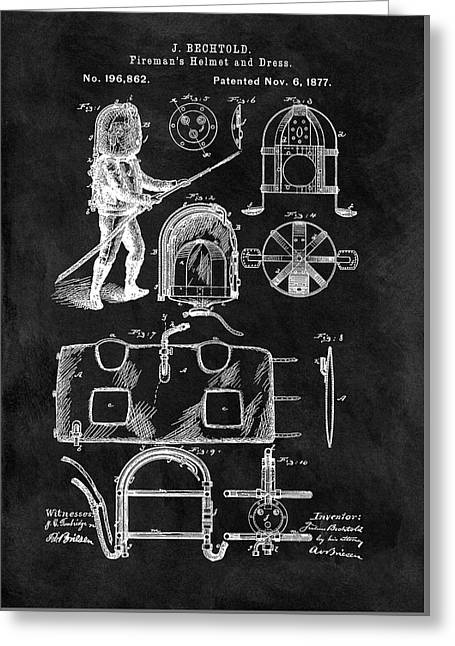 1877 Firefighter's Helmet Patent Greeting Card