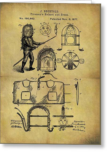 1877 Fireman's Suit Patent Greeting Card