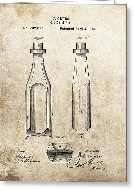 1877 Oil Drill Bit Patent Greeting Card by Dan Sproul