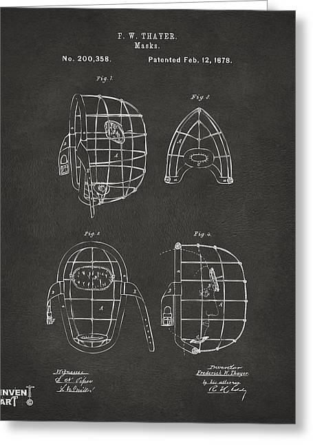 Baseball Drawings Greeting Cards - 1878 Baseball Catchers Mask Patent - Gray Greeting Card by Nikki Marie Smith