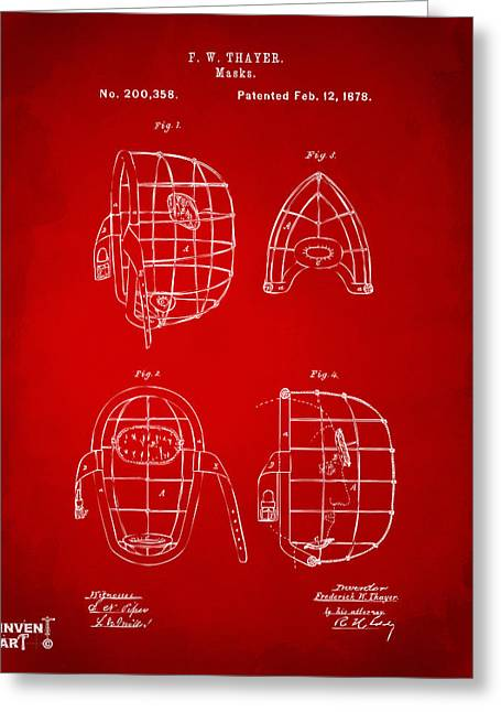 Baseball Art Greeting Cards - 1878 Baseball Catchers Mask Patent - Red Greeting Card by Nikki Marie Smith
