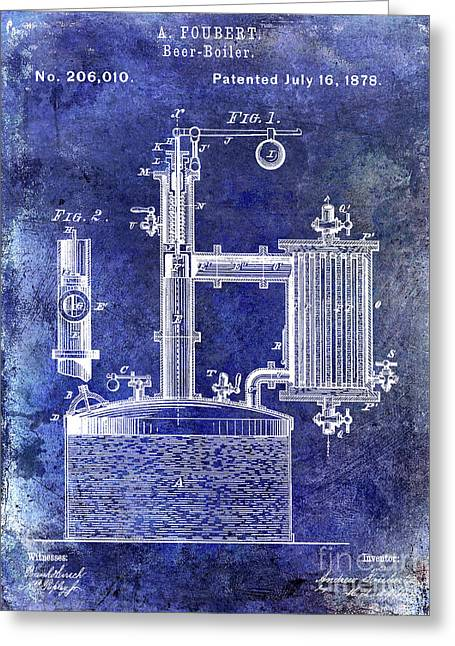 1878 Beer Boiler Patent Blue Greeting Card