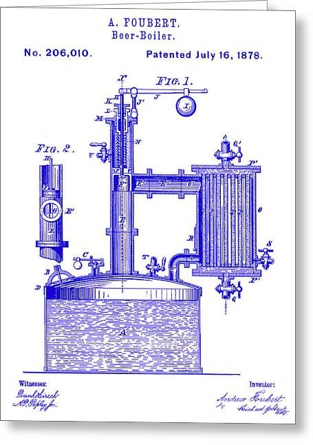 1878 Beer Boiler Patent Blueprint Greeting Card