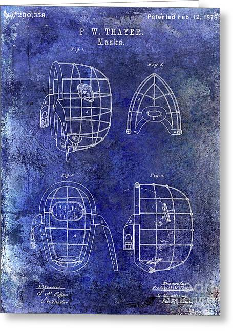 1878 Catchers Mask Patent Blue Greeting Card by Jon Neidert