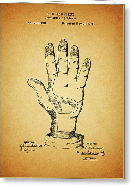 1878 Corn Husking Glove Patent Greeting Card by Dan Sproul