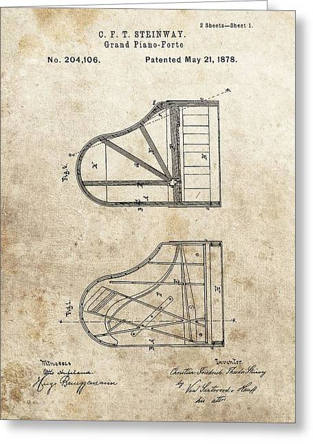 1878 Steinway Grand Piano Patent Greeting Card