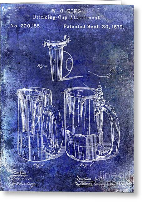 1879 Beer Mug Patent Blue Greeting Card