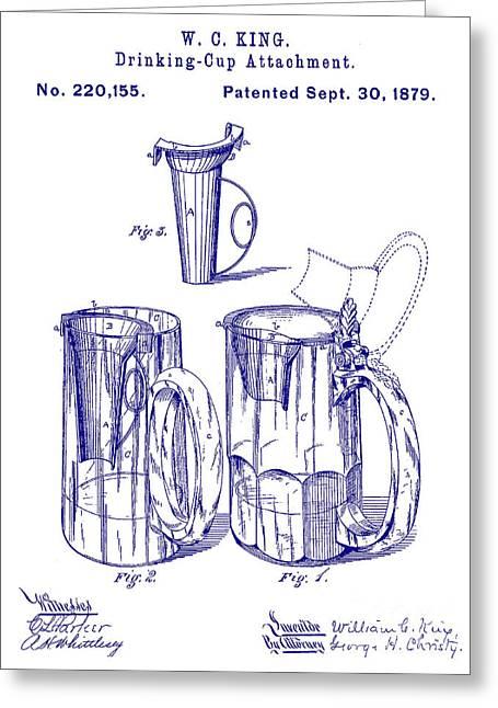 1879 Beer Mug Patent Blueprint Greeting Card