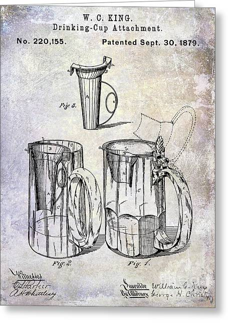 1879 Beer Mug Patent Greeting Card by Jon Neidert