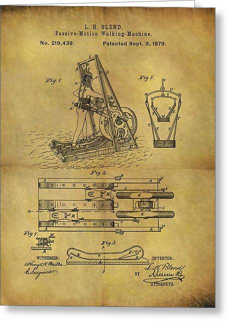 1879 Treadmill Patent  Greeting Card by Dan Sproul