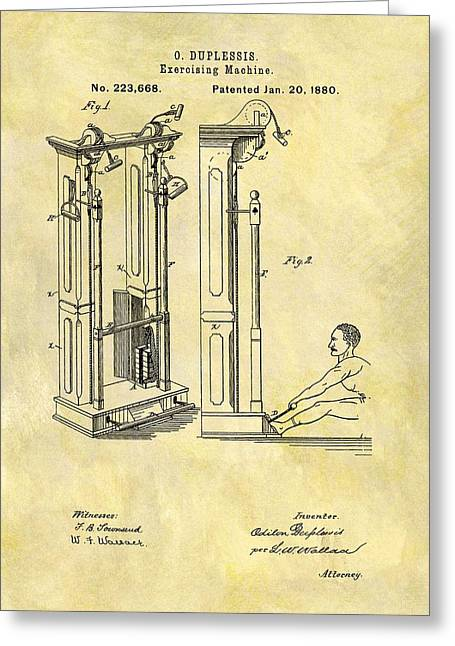 1880 Exercising Machine Patent Greeting Card by Dan Sproul