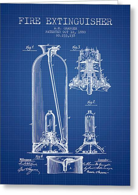 1880 Fire Extinguisher Patent - Blueprint Greeting Card by Aged Pixel