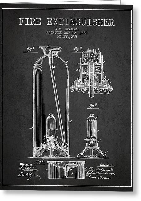 1880 Fire Extinguisher Patent - Charcoal Greeting Card by Aged Pixel
