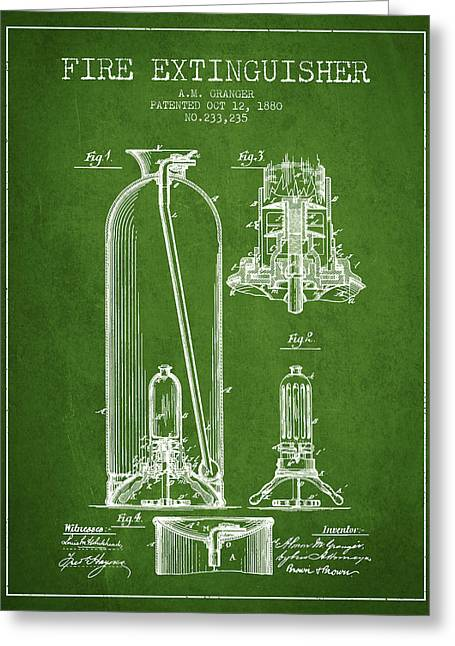 1880 Fire Extinguisher Patent - Green Greeting Card by Aged Pixel