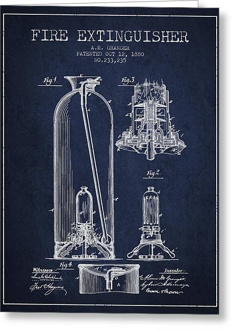 1880 Fire Extinguisher Patent - Navy Blue Greeting Card by Aged Pixel