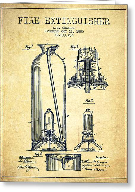 1880 Fire Extinguisher Patent - Vintage Greeting Card by Aged Pixel