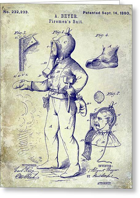 1880 Fireman Suite Patent Greeting Card