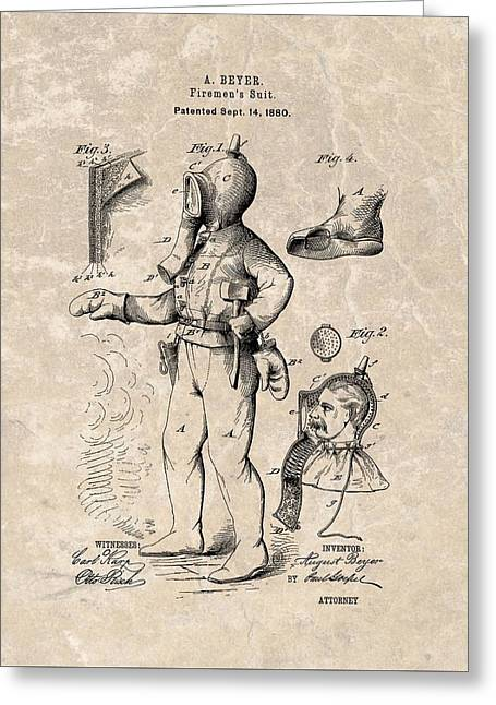 1880 Firemen's Suit Patent Greeting Card by Dan Sproul