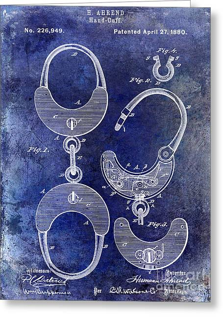 1880 Handcuff Patent Blue Greeting Card by Jon Neidert