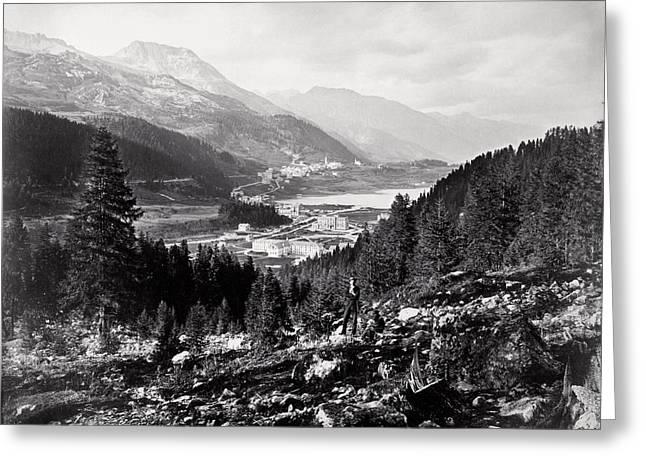 1880 Panorama Of St. Moritz, Switzerland Greeting Card