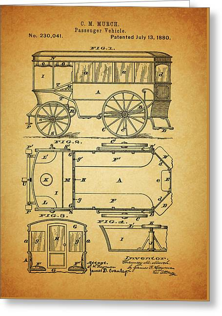 1880 Passenger Wagon Patent Greeting Card by Dan Sproul