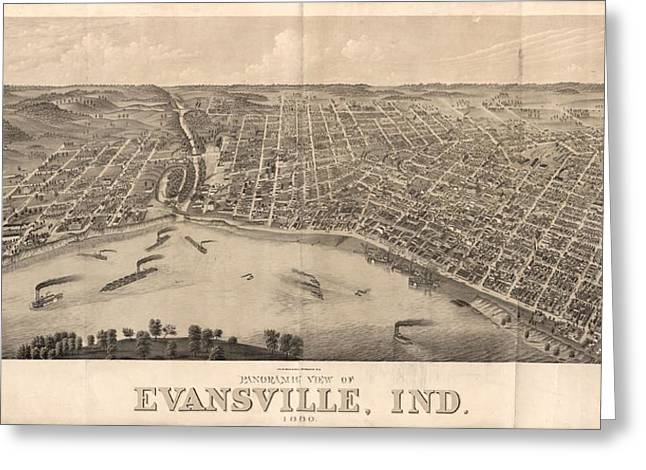 1880 Vintage Evansville Map Greeting Card by Dan Sproul