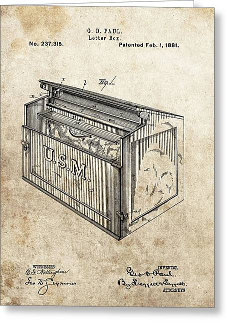 1881 Mailbox Patent Greeting Card
