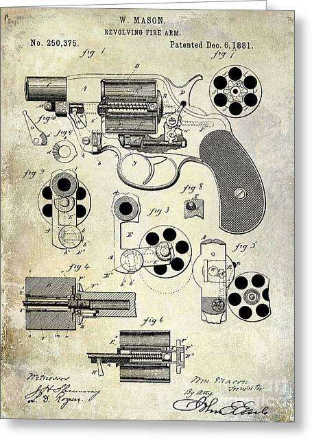 1881 Revolver Patent  Greeting Card