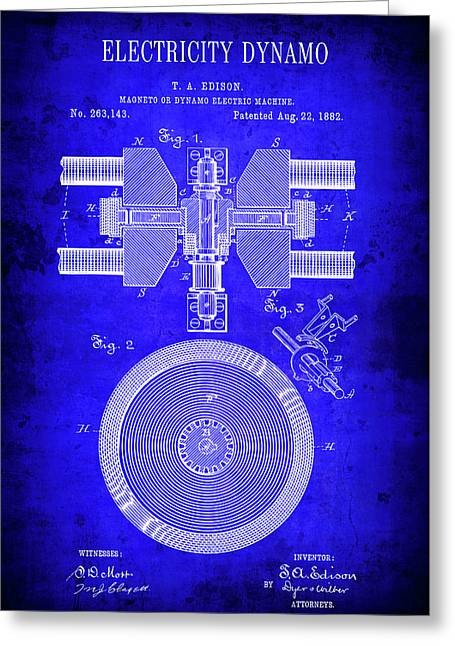 1882 Electricity Dynamo Patent Blueprint Greeting Card by Daniel Hagerman