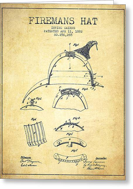 1882 Firemans Hat Patent - Vintage Greeting Card by Aged Pixel