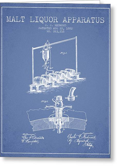 1882 Malt Liquor Apparatus Patent - Light Blue Greeting Card by Aged Pixel