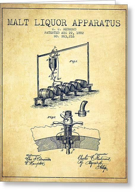 1882 Malt Liquor Apparatus Patent - Vintage Greeting Card by Aged Pixel