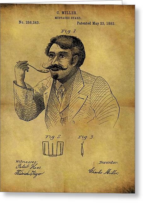 1882 Mustache Guard Patent Greeting Card by Dan Sproul