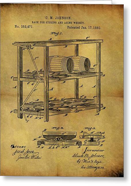 1882 Whiskey Barrel Rack Greeting Card
