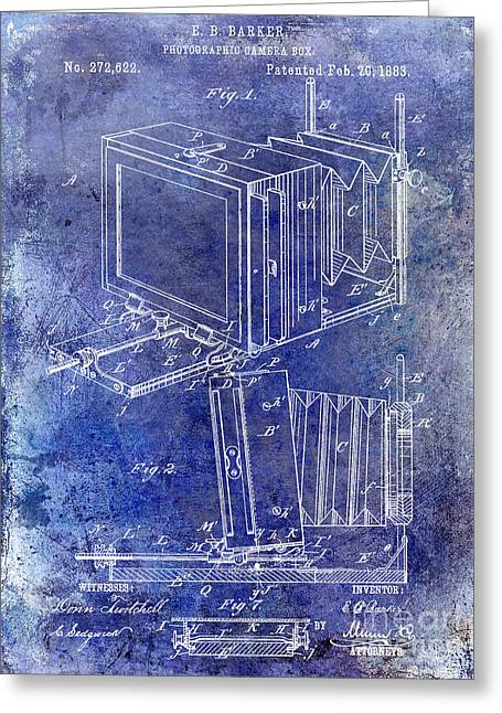 1883 Camera Patent Blue Greeting Card by Jon Neidert
