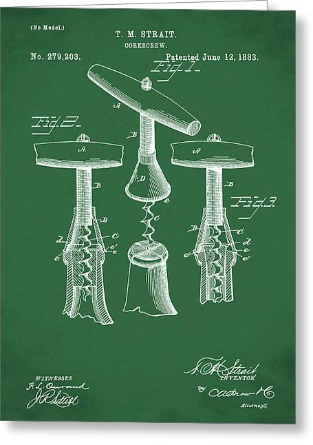 1883 Corkscrew Patent In Green Greeting Card by Bill Cannon