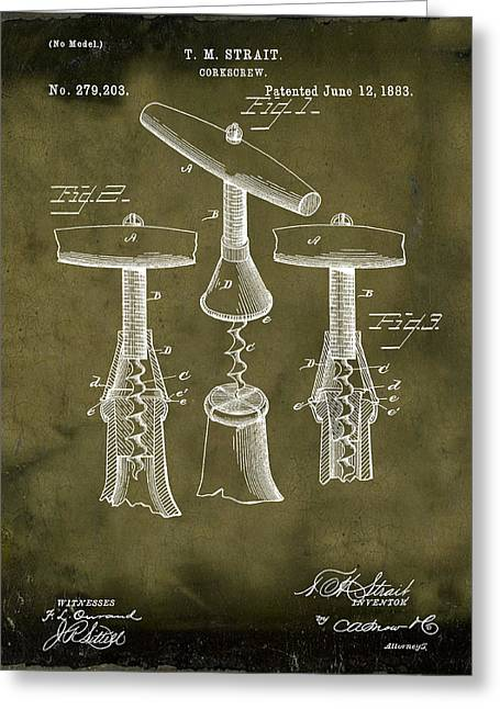 1883 Corkscrew Patent In Grunge Greeting Card by Bill Cannon