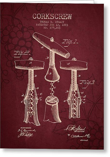 1883 Corkscrew Patent - Red Wine Greeting Card by Aged Pixel