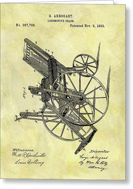 1883 Wheelchair Patent Greeting Card