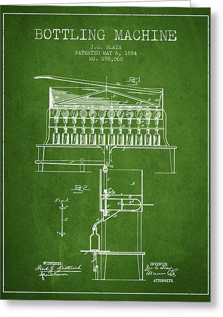 1884 Bottling Machine Patent - Green Greeting Card by Aged Pixel