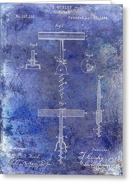 1884 Corkscrew Patent Blue Greeting Card