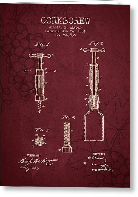 1884 Corkscrew Patent - Red Wine Greeting Card by Aged Pixel