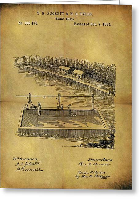 1884 Ferry Boat Patent Greeting Card by Dan Sproul